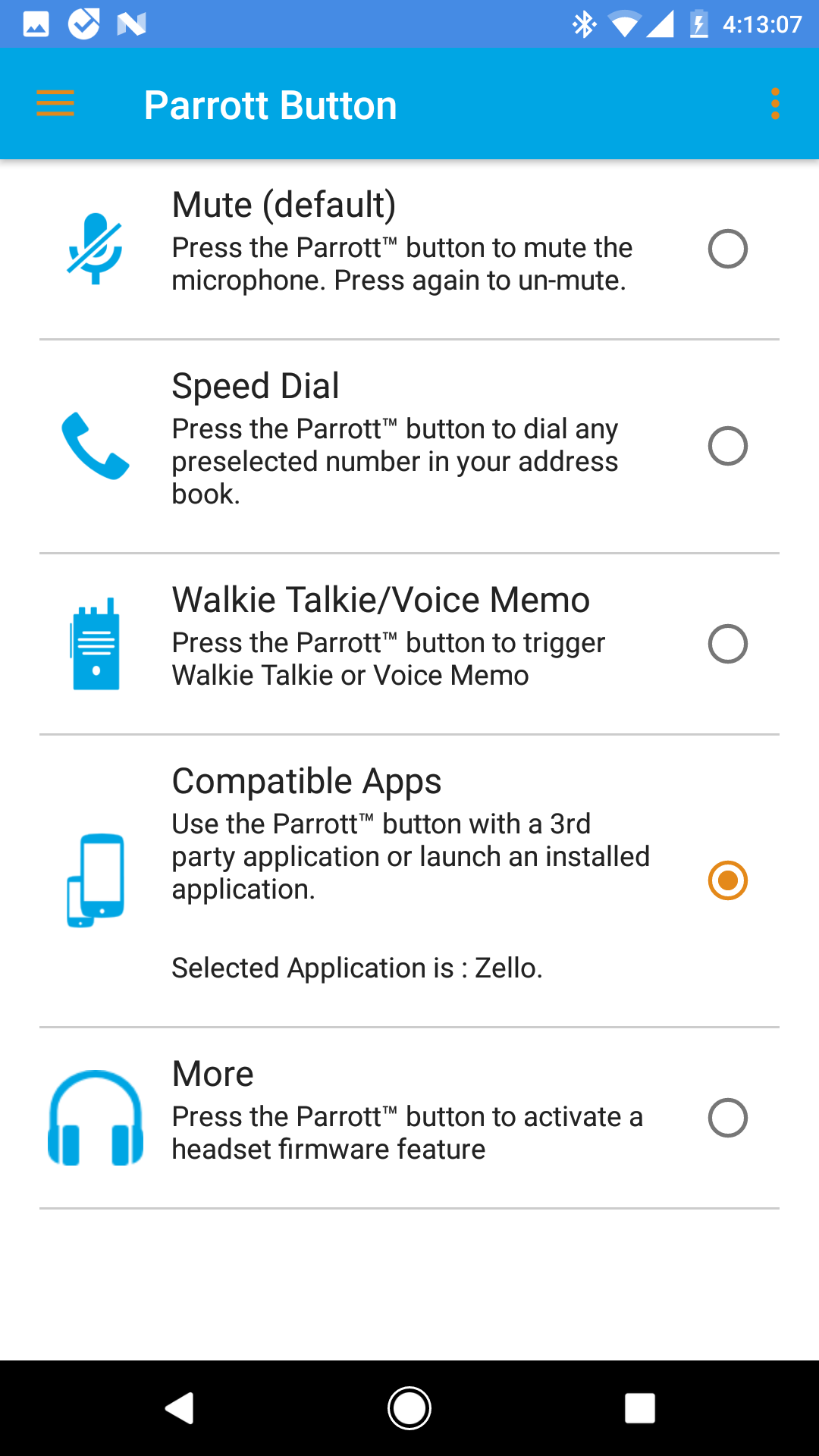 Setting up a BlueParrott PTT headset button – Zello Inc